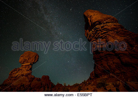 The Milky Way Over Balanced Rock, Arches National Park, Utah, USA, North America - Stock Photo
