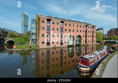 The Castlefield Urban Heritage Park and historic inner city canal conservation area with Beetham Tower in Manchester, - Stock Photo