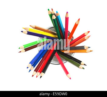 color pencils in basket isolated on a white  background - Stock Photo