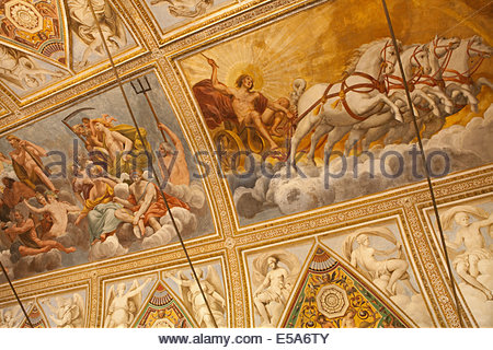 Ceiling in the Palazzo Ducale di Mantova (Ducal Palace) in Mantua - Stock Photo