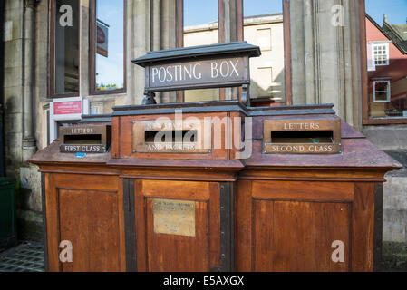 Old fashioned wooden post box, St Aldate's Street, Oxford, England, UK - Stock Photo