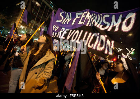 Santiago, Chile. 25th July, 2014. Demonstrators participate in a march called 'For a Free, Safe and Gratuitous Abortion', - Stock Photo