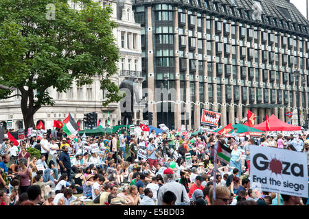 London, UK. 26th July, 2014. Tens of thousands of pro-Palestinian protesters gather for a rally at the Houses of - Stock Photo