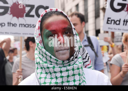 London, UK. 26th July, 2014. Stop the 'massacre' in Gaza protest. A demonstration called by: Stop the War Coalition, - Stock Photo
