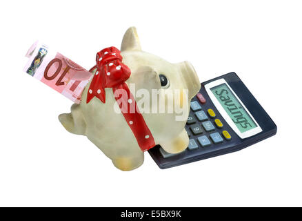 Piggy bank with calculator money box style, isolated on white background - Stock Photo