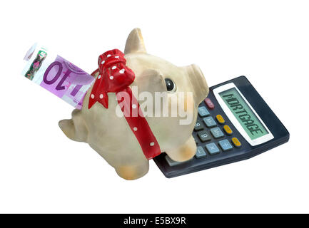 Piggy bank and calculator with the word mortgage written on it, isolated on white background - Stock Photo