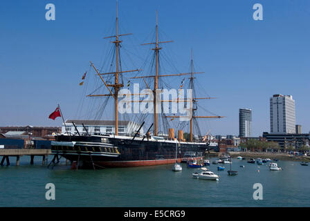 HMS Warrior, the first armour-plated, iron-hulled warship, built for Royal Navy in 1860, Portsmouth Historic Docks, - Stock Photo