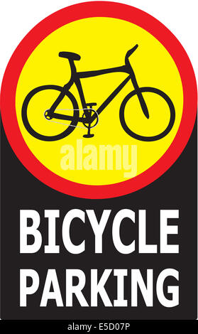 Sign show that it allow only bicycle can park in this area. - Stock Photo