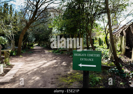 Highgate Cemetery is a place of burial in north London, England. It is designated Grade I on the English Heritage - Stock Photo