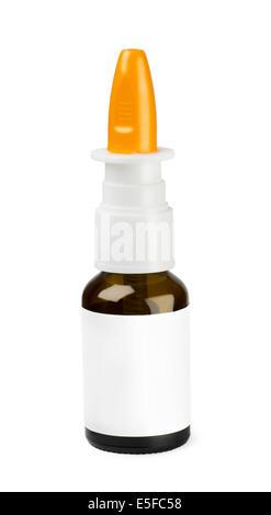 Nasal spray on a white background - Stock Photo