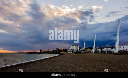 View of storm above sea and beach in Southend-on-Sea at evening. - Stock Photo