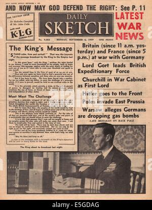 1939 Daily Sketch front page reporting Britain declares war on Germany - Stock Photo