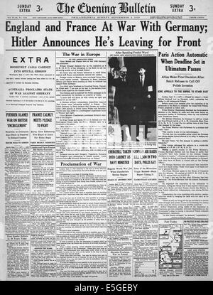 1939 The Evening Bulletin (Philadelphia, USA) front page reporting Britain and France declare war on Germany - Stock Photo