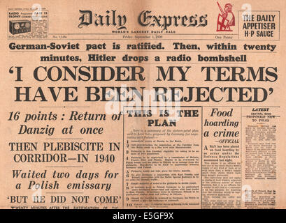 1939 Daily Express front page reporting Hitler's speech on Polish Corridor problem - Stock Photo
