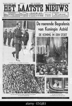 1935 Het Laatste Nieuws (Belgium) front page reporting the funeral of Queen Astrid of Belgium - Stock Photo