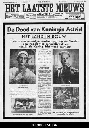 1935 Het Laatste Nieuws (Belgium) front page reporting the death in a car accident of Queen Astrid of Belgium - Stock Photo