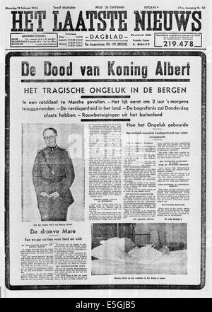 1935 Het Laatste Nieuws (Belgium) front page reporting the death of King Albert I of Belgium - Stock Photo