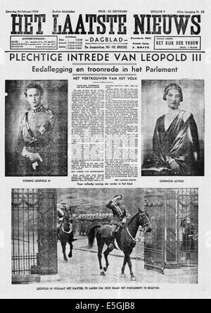 1934 Het Laatste Nieuws (Belgium) front page reporting the Coronation of King Leopold III and Queen Astrid of Belgium - Stock Photo