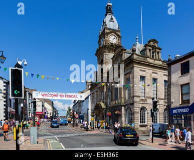 The Town Hall on Highgate in the centre of Kendal, Lake District, Cumbria, UK - Stock Photo