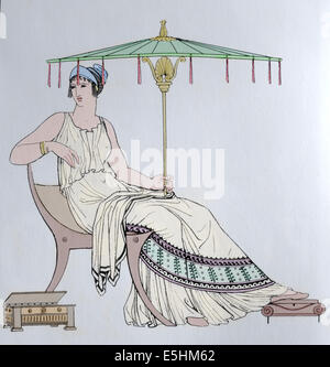 Ancient Greece. Female costume. Engraving 19th century. Color. - Stock Photo