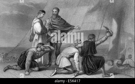 The Discovery of America in 1492 by the Genovese navigator Christopher Columbus, 1451-1506, - Stock Photo