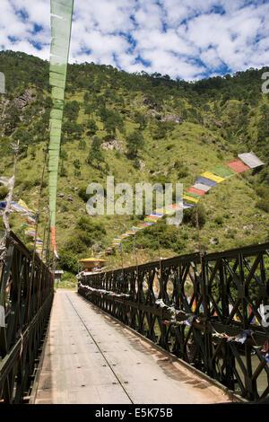 Eastern Bhutan, Lhuentse Valley new road bridge across Kuri Chhu River to Khoma village - Stock Photo