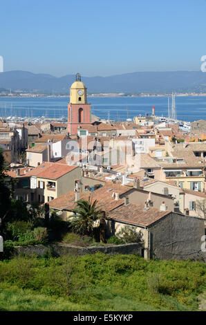 View over Old Town & Clock Tower Saint Tropez Var Côte d'Azur French Riviera France - Stock Photo