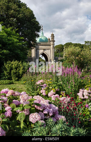 A corner of the gardens surrounding the 18c Royal Pavilion in Brighton, East Sussex, UK - Stock Photo