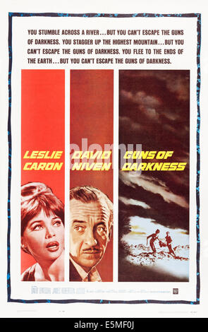 GUNS OF DARKNESS, US poster art, from left: Leslie Caron, David Niven, 1962 - Stock Photo
