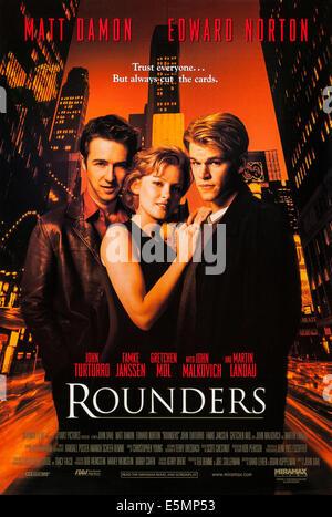 ROUNDERS, US poster, from left: Edward Norton, Gretchen Mol, Matt Damon, 1998, © Miramax/courtesy Everett Collection - Stock Photo