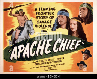 APACHE CHIEF, top right from left: Alan Curtis, Carol Thurston, Russell Hayden, bottom from top: Tom Neal, Fuzzy - Stock Photo