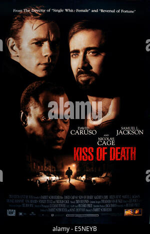 KISS OF DEATH, US poster art, from left: David Caruso, Samuel L. Jackson, Nicolas Cage, 1995, TM & Copyright ©20th - Stock Photo