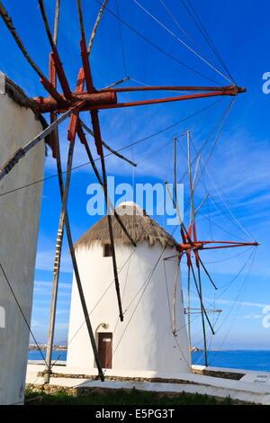 Windmills in a row (Kato Mili), Mykonos Town (Chora), Mykonos, Cyclades, Greek Islands, Greece, Europe - Stock Photo