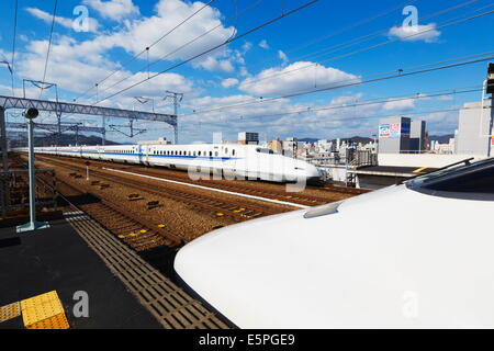 Shinkansen bullet train, Honshu, Japan, Asia - Stock Photo