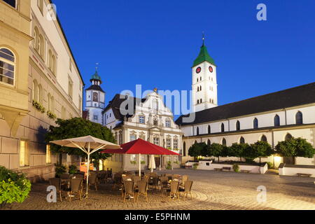 Town Hall, Market Square and St. Martin Church, Wangen, Upper Swabia, Baden Wurttemberg, Germany, Europe - Stock Photo
