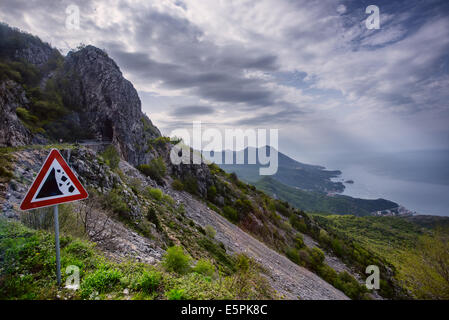 Road in Mountains above Boka Kotor bay in Montenegro. - Stock Photo