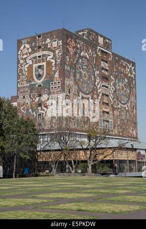 Central Library, tiled fresco by Juan Gorman, National Autonomous University of Mexico, Mexico City, Mexico, North - Stock Photo
