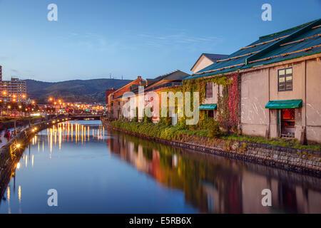 Otaru, Hokkaido, Japan at the historic warehouses and canal. - Stock Photo