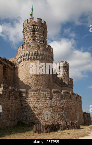 Castle of Manzanares el Real, Madrid, Spain - Stock Photo