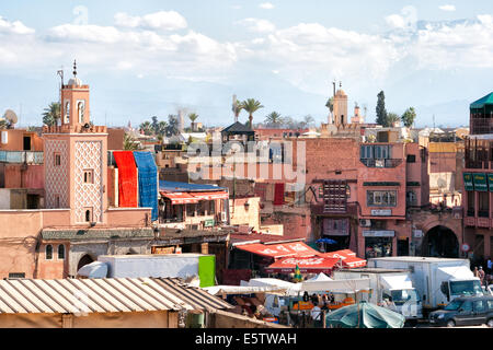 View on Marrakesh with in the back the Atlas Mountains. - Stock Photo