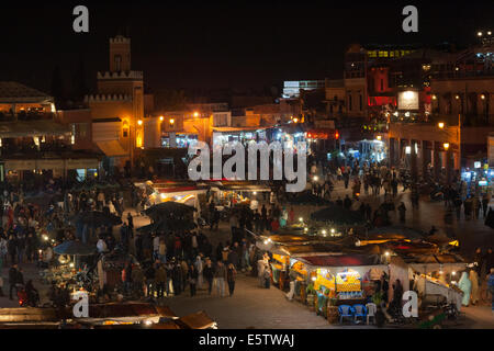 MARRAKESH, MOROCCO - JAN 29: People shopping in the evening at famous Marrakesh square Djemaa el Fna on January - Stock Photo