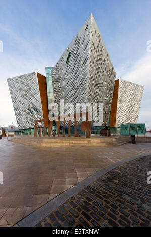 The Titanic visitor attraction and a monument in Belfast, Northern Ireland. - Stock Photo