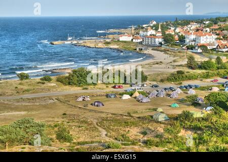 Denmark, Bornholm Island Pictures taken between 1st and 5th August 2014.  Pictured: Rocky coast of the Allinge city - Stock Photo