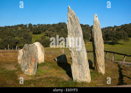 Cromlech La Pasada del Abad -betwen 3000 and 2500 BC, Megalithic monument, Rosal de la Frontera, Huelva province, - Stock Photo