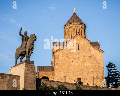 Metekhi church and the statue of King Vakhtang Gorgasali in the old town of Tbilisi, the capital of Georgia, at - Stock Photo
