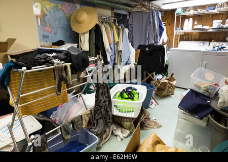 Messy Basement Laundry Room, residential home, USA - Stock Photo