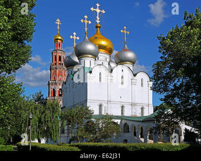 Cathedral of Our Lady of Smolensk in Novodevichy convent in Moscow, Russia. - Stock Photo