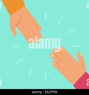 Helping hands in flat style - charity and support concept - Stock Photo