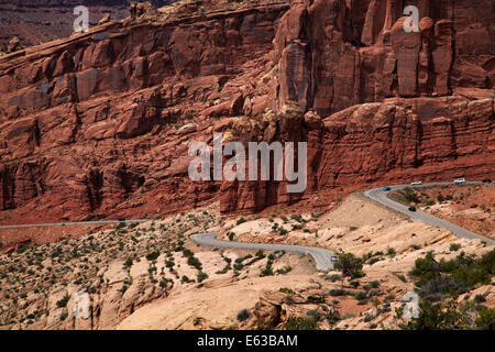 Zigzag road entering Arches National Park, near Moab, Utah, USA - Stock Photo