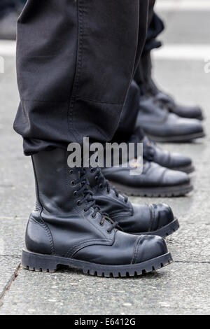 Members of a right-wing Hungarian party wearing combat boots, symbolic image for right-wing extremism, Budapest, - Stock Photo